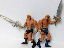 MOTU HeMan Action Figure Sword Variant 2001 Lot Set Brown Blue Boots Toy Blade - $24.88