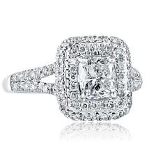 1.73 TCW Cushion Cut Diamond Engagement Ring Split Shank 18k White Gold - $3,959.01