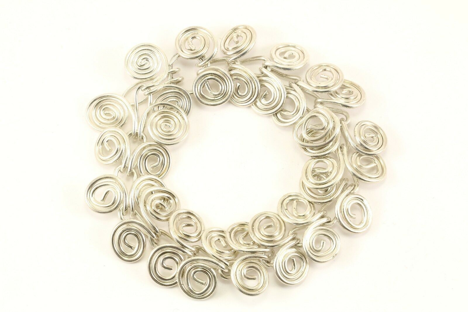 Vintage Swirl Scroll Design Chain Bracelet 925 Sterling BR 3204