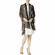 INC International Concepts Floral Print Metallic Wrap Scarf Hijab, Black - $14.85
