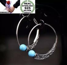 European Fashion 925 Sterling Silver Turquoise Round Hoop Earrings [EAR-247] - $14.96