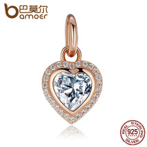 Sterling Silver Sparkling Love Rose Clear Cz Charms Fit Charm Bracelets ... - $15.60