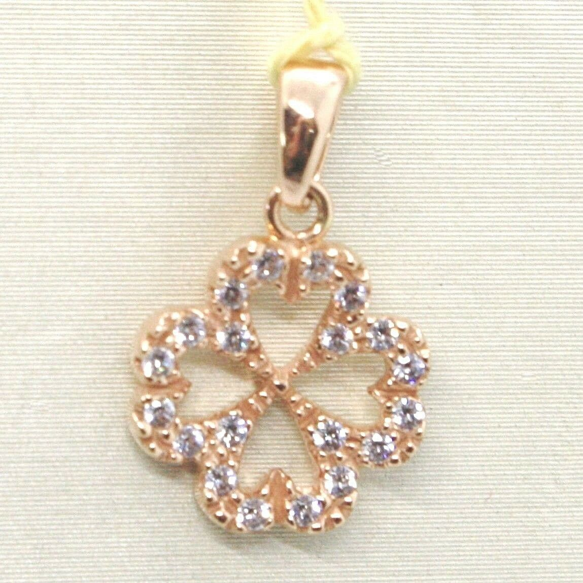 Pendant Rose Gold 750 18K, Four-Leaf With Zircon