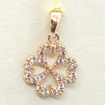 Pendant Rose Gold 750 18K, Four-Leaf With Zircon image 1