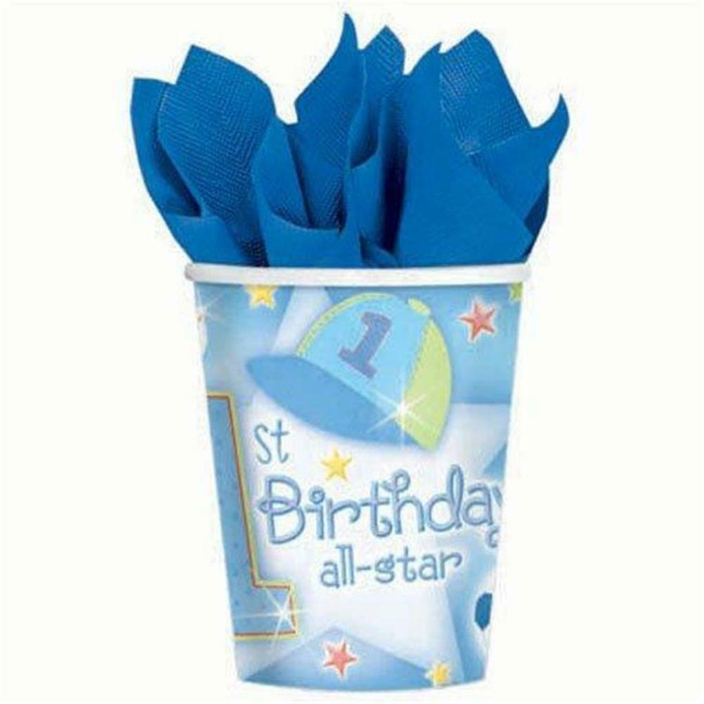 1st Birthday All Star Party 9 oz Paper Cups 18 Per Package NEW