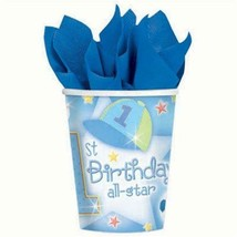 1st Birthday All Star Party 9 oz Paper Cups 18 Per Package NEW - $6.88