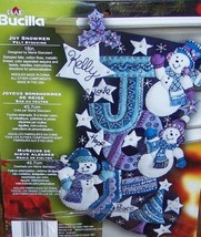New Super RARE Bucilla Joy Snowmen Snowman Felt  Christmas Stocking Kit 86328 -  - $164.99