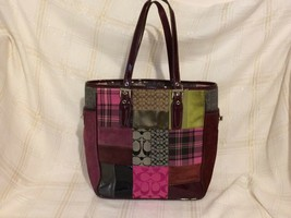 Coach Patchwork Purse Tote Bag Suede patent fabric pink purple Handbag - $64.35