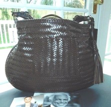 RALPH LAUREN COLLECTION BROWN WOVEN VACHETTA LEATHER HOBO BAG NWT ITALY ... - $1,250.00