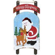 "Merry Christmas Sled Hanging Sign Santa Reindeer Snow 8""X16"" w - $5.99"