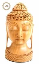 Wood Buddha Head Statue hand Carved sculpture God Figurine Home Decor India - $19.80