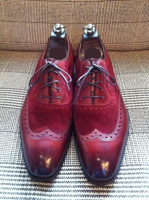 Handmade Men Wingtip Burgundy Color Shoes, Men Suede And Leather Dress Shoes