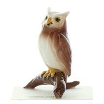 Hagen Renaker Miniature Bird Owl on Branch Ceramic Figurine image 1