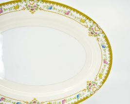 Meito China Blue Yellow & Pink Flower Gold Accent Oval Serving Platter image 5