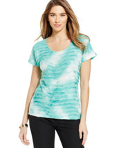 Jm Collection Women Ribbon-Textured Printed Cabans Tl Wave Tee Size L - $9.70