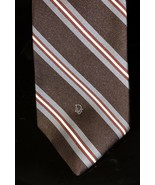 CHRISTIAN DIOR Brown Gray Maroon Diagonal Stripe Silk Necktie Tie - $15.83