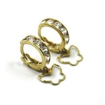 18K YELLOW GOLD PENDANT EARRINGS, MINI CUBIC ZIRCONIA HOOPS WITH BUTTERFLIES image 2
