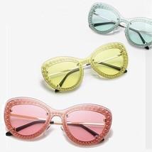 Women Sunglasses Cat Eye Pearl Clear Lens Vintage Retro Fashion Girls Su... - $19.98