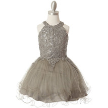 Silver Halter Neck Sequin Embroidery Lace Tiered Tulle Mini Flower Girl ... - $58.00+