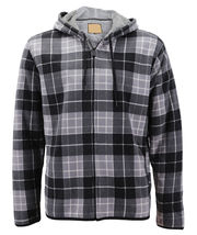Men's Casual Flannel Zip Up Fleece Lined Plaid Sherpa Hoodie Lightweight Jacket image 14