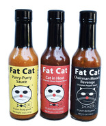 Fat Cat Funny Cat Name Three Bottle Hot Sauce Gift Set Variety Pack - $22.99
