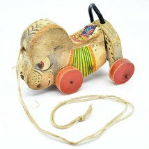 Vintage Fisher Price No. 445 Nosey Wooden Wood Pull Toy Dog