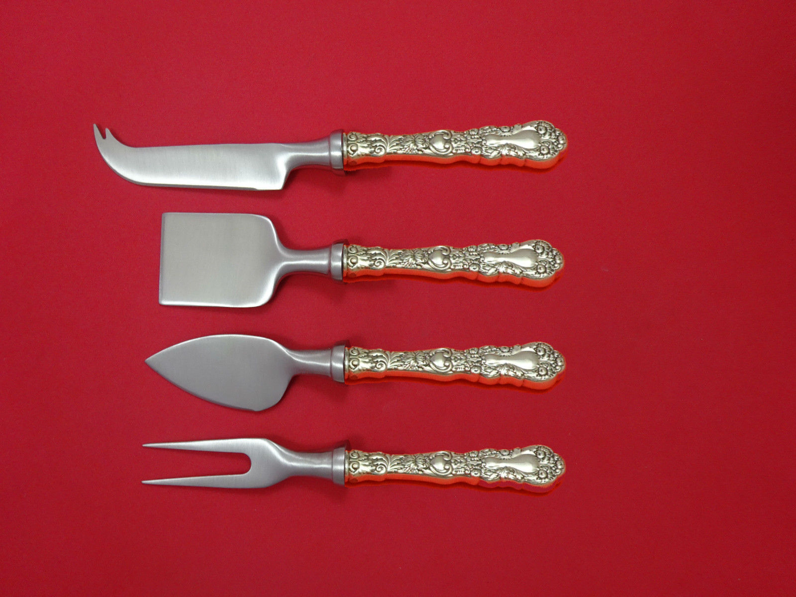 Primary image for Imperial Chrysanthemum By Gorham Sterling Cheese Serving Set 4 piece HHWS Custom