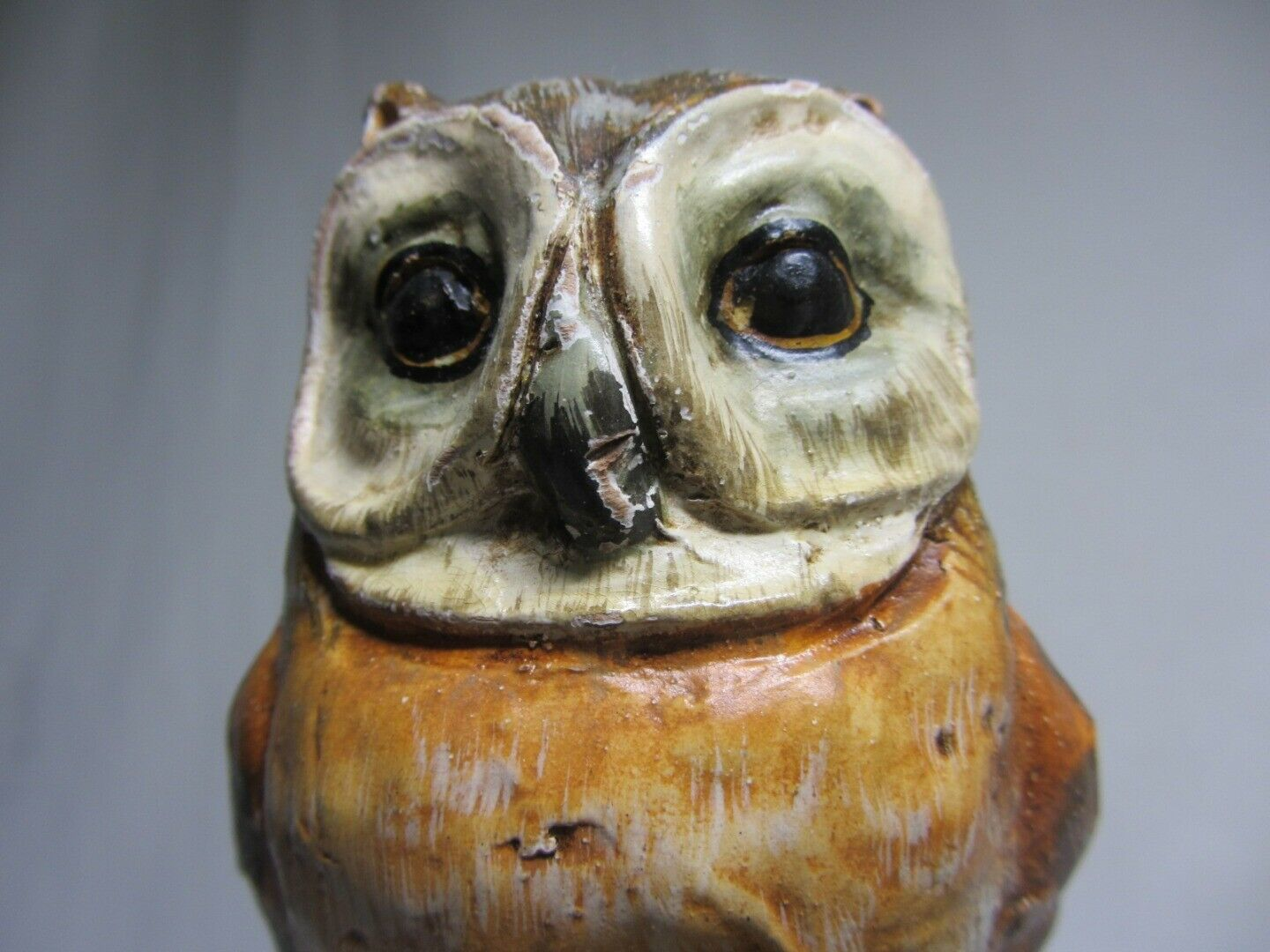 Ceramic Art Pottery Figurine 2 Owl on Branch Vintage ITALY Terra Cotta