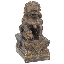Chinese Guardian Male Lion Foo Dog Statue Collectible Desktop Home Decor... - $49.49
