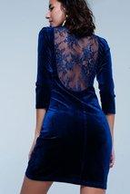 Dark Blue Velvet Mini Dress Open Back - $46.00