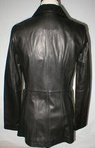 New Womens S Soft Karl Lagerfeld Paris Leather Jacket Black Silver Designer Lamb image 4