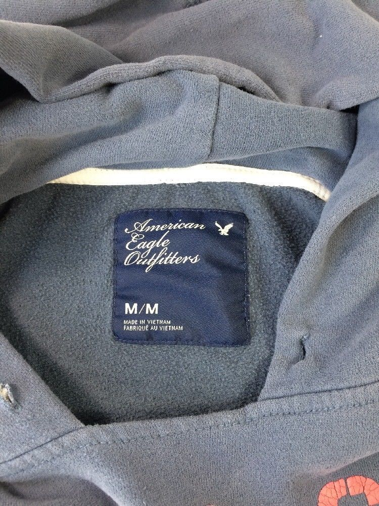 American Eagle Blue Pull Over Hoodie NIGHT OWL Red Letters Pockets Distressed M