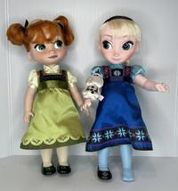 """Lot of 2 Disney, Frozen, Princess Anna & Queen Elsa, 15"""" toddler dolls - $28.66"""