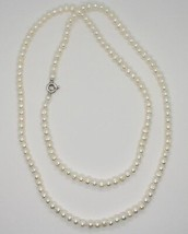 1 metre Long Necklace in 18k White Gold White Pearls freshwater Made in Italy image 2
