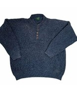 Vintage 90s Club Room Henley Sweater XL Blue Buttons Heavy Knit - $37.05