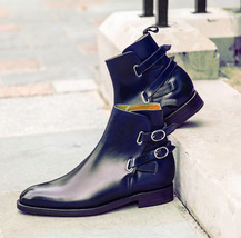 Handmade Men's Navy Blue Leather High Ankle Double Monk Strap Jodhpurs Boots image 1