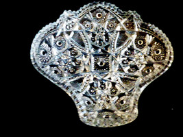 Vtg Imperial Pressed Cut Glass Bowl Dish Bon Bon Candy Nuts Leaf Design - $35.34