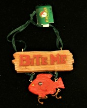 "New Kurt Adler hand-painted resin ""Bite Me"" fishermen's Christmas ornament - $15.79"