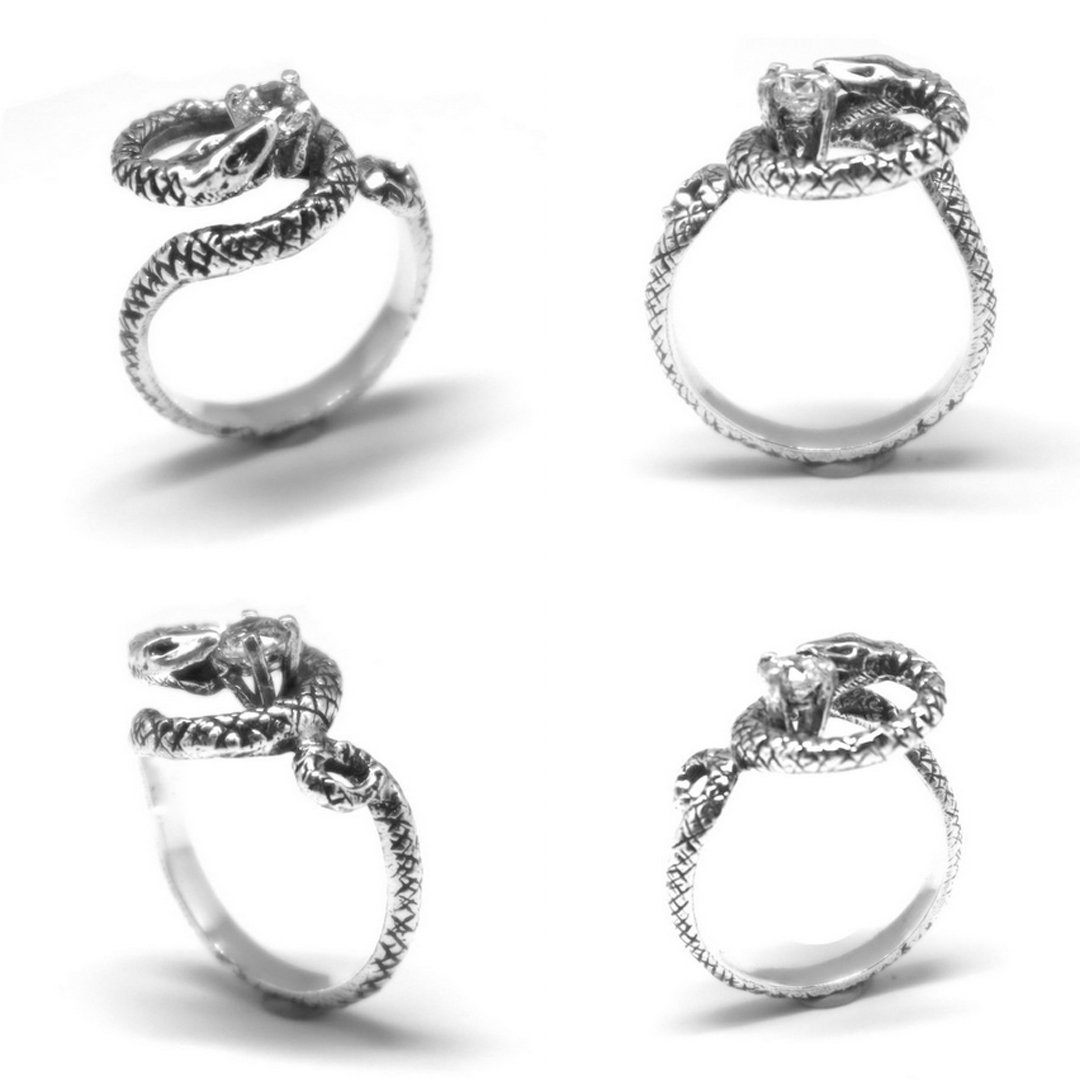 Silver Snake Biting Ring image 3