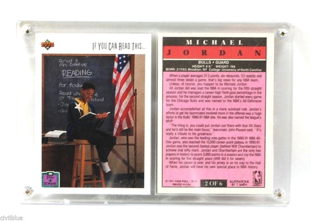 Sports Plaque 2 Cards Michael Jordan Stay in School '91 '92 NBA Upper Deck Fleer
