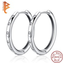 Fashion 925 Sterling Silver Circle Round Hoop Earrings with CZ Crystal Teardrop  - $21.73