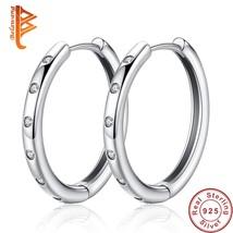 sterling silver circle round hoop earrings with cz crystal teardrop earrings for women thumb200