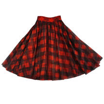 High Waisted BLACK PLAID Skirt Long Tulle Black Plaid Skirt Outfit Plus Size image 10