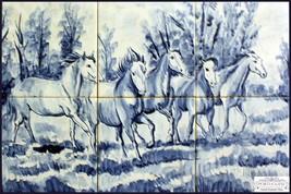 HORSES Portuguese Traditional Azulejos Kiln Fired Blue Kitchen Tile Back... - $480.15