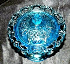 Blue Pedestal Candy Compote Depression Glass 2 piece AA19-CD0025 Vintage image 3