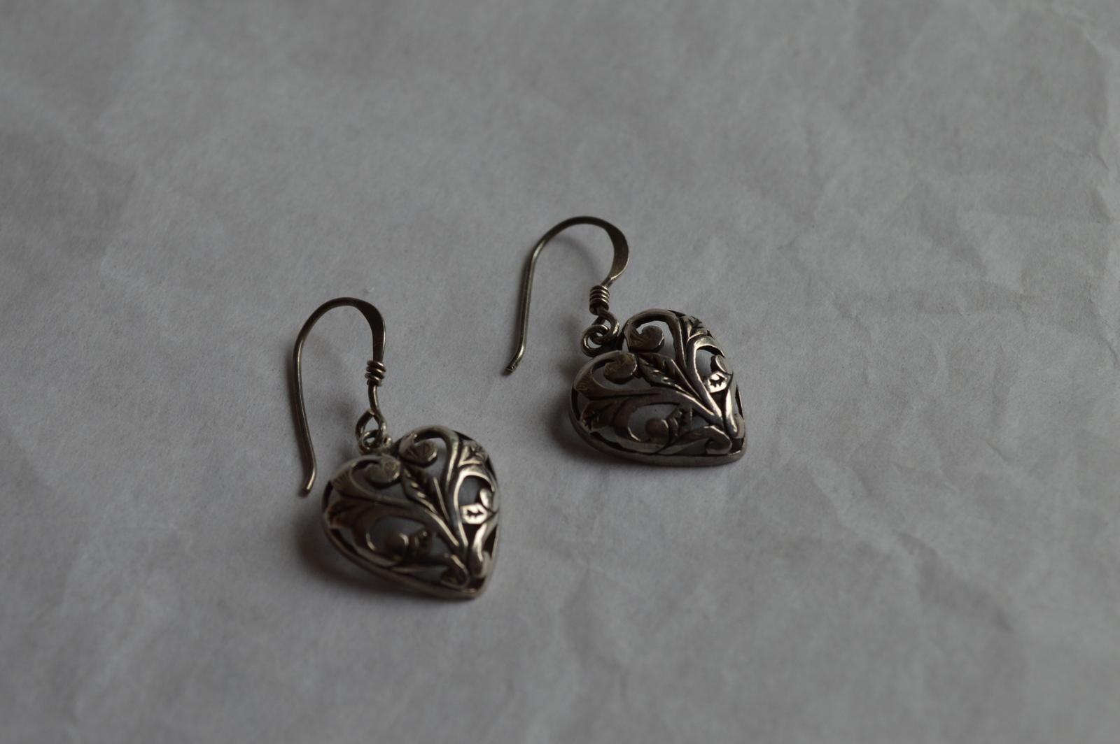 Vintage Filigree Heart Design Sterling Dangle Earrings--15mm--2.9 Grams - $19.99