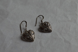 Vintage Filigree Heart Design Sterling Dangle Earrings--15mm--2.9 Grams - $23.99