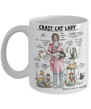 Crazy Cat Lady Facts Coffee Mug Funny Gift Feline Tabby Cat Lovers - $14.84+