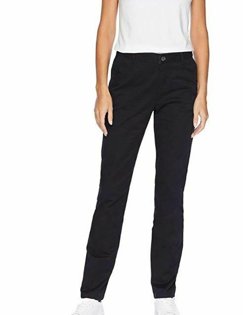 Amazon Essentials Women's Straight-Fit Stretch Twill Chino Pant Black 4 Regular - $12.12
