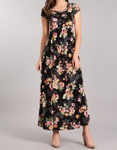 Black Floral Maxi Dress, Short Sleeve Maxi Dress, Maternity Friendly, Womens